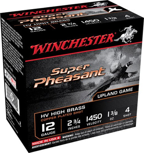 "Winchester Ammo X12PHV4 Super Pheasant HV High Brass 12 Gauge 2.75"" 1 3/8 oz 4 Shot Copper Plated 25 Bx"