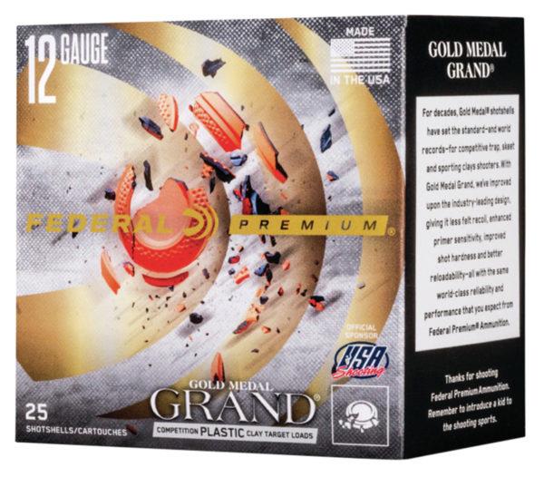 """Federal GMT1199 Premium Gold Medal Grand Plastic12 Gauge 2.75"""" 1 oz 9 Shot 25 Bx"""